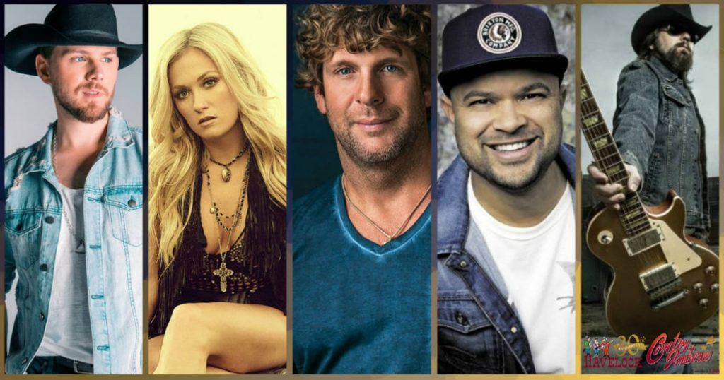 The 2019 Havelock Country Jamboree Lineup includes Billy Currington, Meghan Patrick, Brett Kissel, Tebey, The Road Hammers and more
