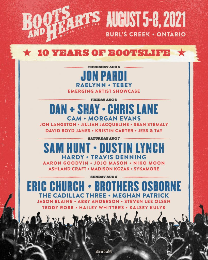 The full lineup for the 2021 Boots & Hearts Music Festival