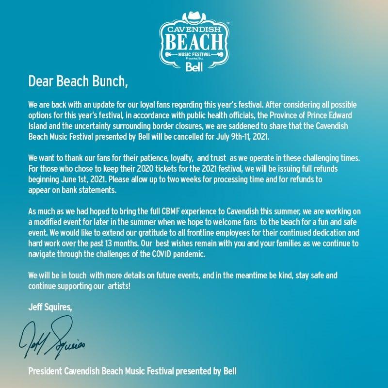 2021 Cavendish Beach Music Festival Cancellation announcement