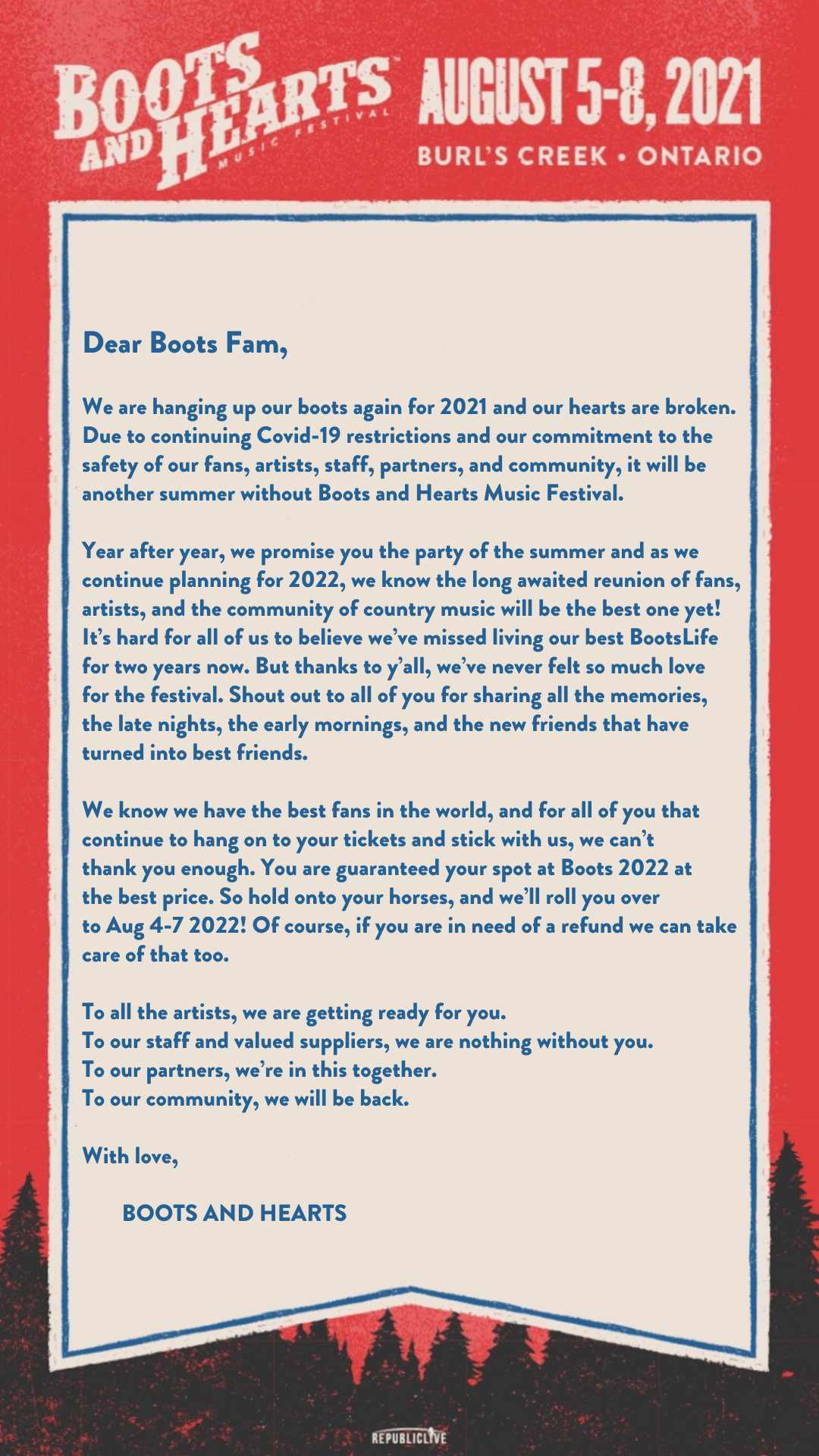 2021 Boots & Hearts Music Festival Cancelled