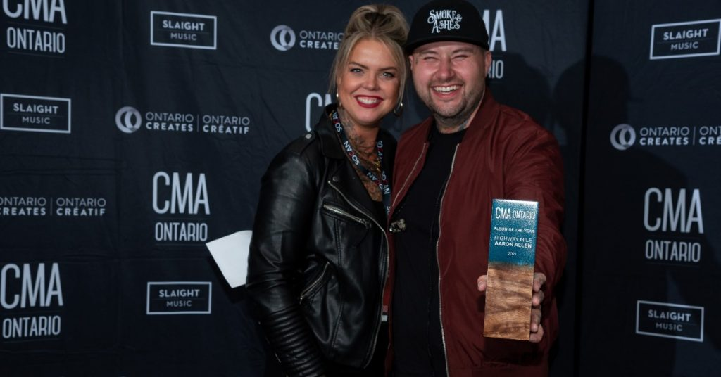 Aaron Allen and his wife Aimee at the CMAOntario Awards